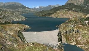 Le lac artificiel EDF de Serre-Ponçon doit permettre à la fois la production d'électricité, les activités nautiques locales, et l'irrigation des terres agricoles en aval (photo EDF/DR)