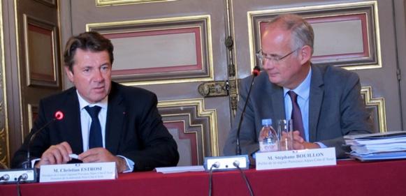 A droite du préfet de Région Stéphane Bouillon, le président de Région et ex maire de Nice Christian Estrosi, a du mal à croire à la réalisation de la ligne nouvelle. Il souhaite a minima que le tracé soit retenu, afin de ne pas geler le foncier sur le trajet (photo MN)