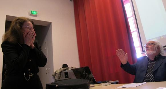 Claudette Occelli et Marc Audibert, évoquent la figure de JP Belmon (photo MN)