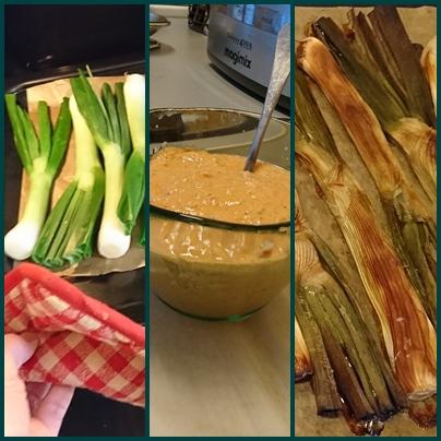 """1- enfourner pour 35 mn four 1985°, 2 - mixer ou monter la sauce à base de tomates, poivron, amandes, huile d'olive, vinaigre et ail; """"3 - une fois les calçots noir au milieu, trempez et mangez...(photo MN)"""