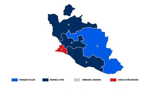 Cas d'école, le Vaucluse où les électeurs de Fillon, Le Pen et Mélenchon ne laissent aucune place pour Emmanuel Macron, pourtant en tête en France (France 3 DR)