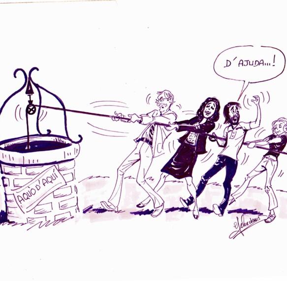 Voici deux ans vous sauviez Aquò d'Aquí : dans ce numéro la liste des sauveteurs (dessin Phavorin)