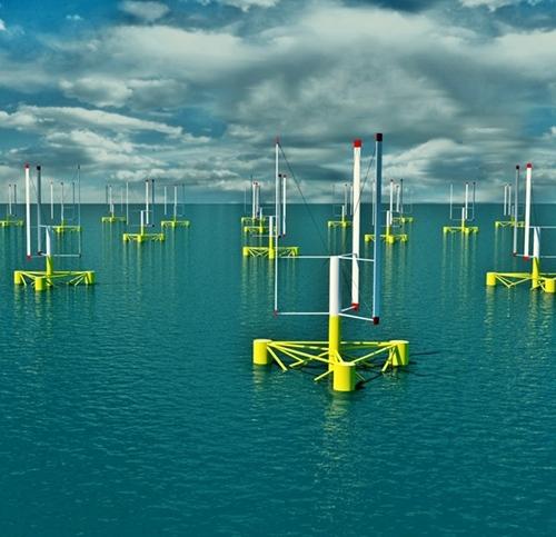 L'éolienne du futur aura un axe et des pales verticaux, et flottera sur la Méditerranée à 25 km des côtes (Vue d'artiste Nenuphar DR)
