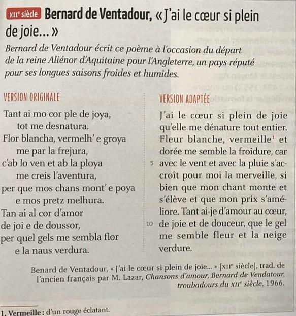 """Manuel de Français, éditions Belin, 2019...""""traduit de l'ancien français..."""" document transmis par MP"""