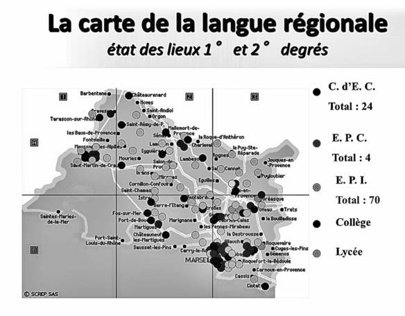 Autour de pôles scolaires à présence du provençal la région de Salon présente une offre d'enseignement plus faible (XDR)