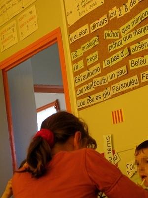 Dans le primaire l'Education Nationale a une politique cohérente d'enseignement du provençal, au moins dans les Bouches-du-Rhône (photo MN)