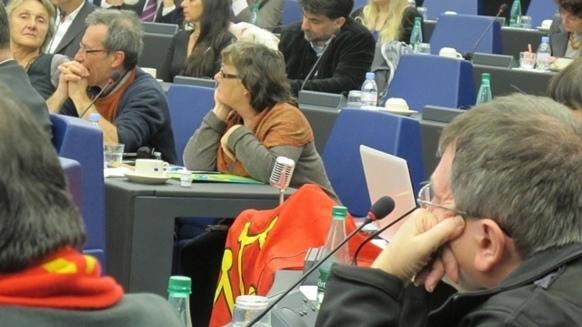 Condotta dall'eurodeputata del Sud-Ovest Catherine Grèze, la delegazione occitana a Strasburgo contava, il 22 novembre 2012, alcuni Provenzali come Bernard Vaton (Calandretas), Joël Bouc (IEO) e Bernat Giély (Félibrige). foto MN