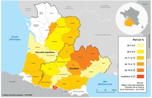 C'est au nord est de l'Occitanie-Région que les personnes déclarant parler occitan sont les plus nombreuses (source OPLO DR)