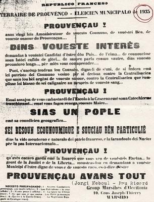 En 1935 Paul Ricard est engagé politiquement aux côtés de Charles Camproux et Jòrgi Reboul (XDR)