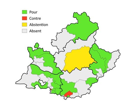 Photographie territoriale du vote de la loi Molac parmi les députés en Provence (Ciprian Emeric DR)
