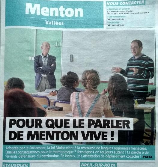 Nice Matin édition de Menton, le 15 avril dernier