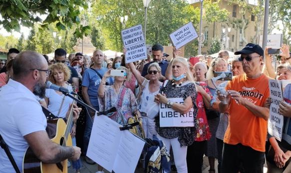 Manifestation contre le pass sanitaire en Provence. L'annonce gouvernementale a mobilisé des gens aux situations et motivations très différentes  (photo MN)