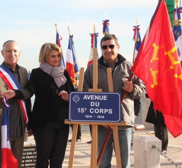 Representant lo Ceucle Occitan de La Sanha en decembre de 2014 au remembre dei sordats occitans injustament castigats en 1914 (photo COLS DR)
