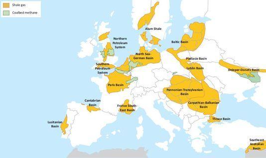 Les principaux bassins de gaz de schiste en Europe (XDR)