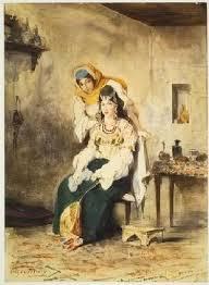 Eugène Delacroix : Saada la femme de Abraham Benchimol et Preciada une de leurs filles, peint au Maroc en 1832. Les peintres, après les campagnes napoléoniennes et jusqu'aux décolonisations, allaient faire provision d'anecdotes au sud de la Méditerranée  (MET NY DR)