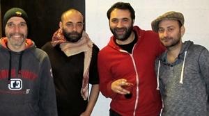 En février 2014, après le studio d'enregistrement (photo MN)