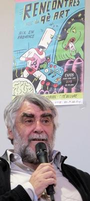 """Jean-Pierre Belmon à Aix : """"des aides pour traduire les BD en oc et donner une impulsion aux créateurs"""" (photo MN)"""