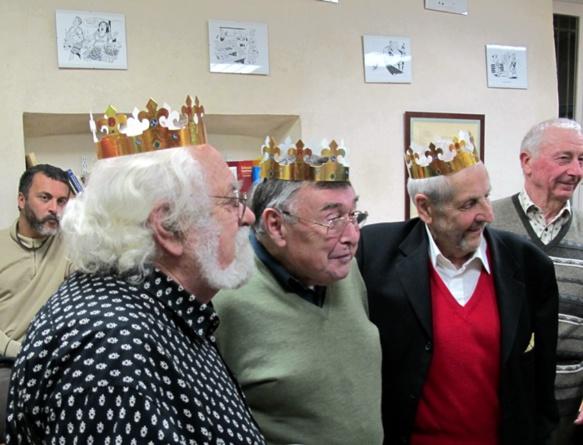 En janvier 2013 le Centre d'Oralité de la Langue d'Oc, à Aix, tire les Rois et rend hommage à ses trois fondateurs : de g à d Marc Audibert, Lucien Durand, et Jean Saubrement (photo MN)