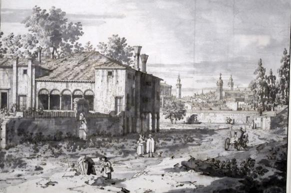 Padoue, villa à la périphérie (1742-45, Londres, Royal Collection). Plume, encre brune et aquarelle pour mettre d'abord en valeur les blancs, c'est à dire la lumière.