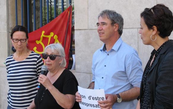 """Anne-Marie Poggio (IEO Paca) en soutien aux """"junistas"""" à Marseille (photo MN)"""