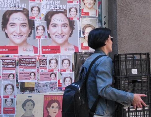 Epouvantail de la bourgeoisie barcelonaise, Ada Colau est comparée à une bolchevique au couteau entre les dents. Elle a du rassurer le monde de l'entreprise. Pour elle seul le système financier a du souci à se faire... (photo MN)