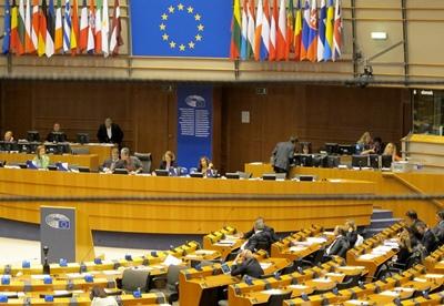 Un Parlement européen quasi vide pour une question fondamentale...Les députés, qui ont une minute pour s'exprimer, sont conviés à parler à une heure fixe, et certains descendent tout juste d'un avion pour venir au micro...(photo MN)