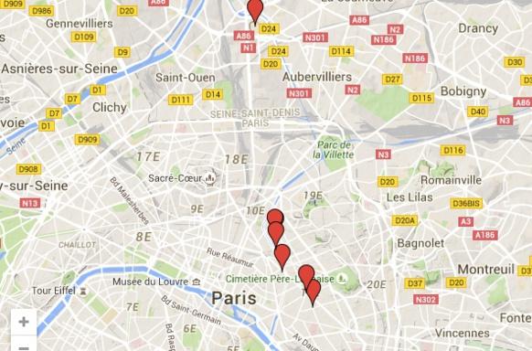 Les lieux des dives attentats parisiens de la nuit du 13-14 novembre 2015 (photo XDR)