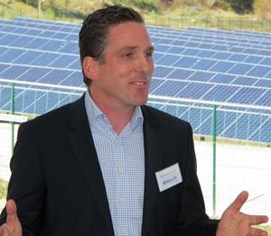 Patrick Decostre, le DG de Boralex, a inauguré le parc photovoltaïque des Cigalettes à l'issue de sept ans de labyrinthe administratif. (photo  MN)