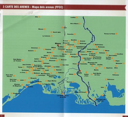 La carte des implantations d'arènes (photo IEO DR)