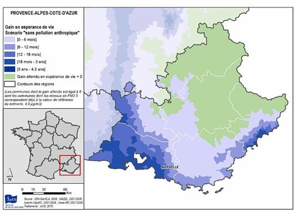 Selon EQIS le nombre de mois d'espérance de vie gagnée selon la région, si la pollution anthropique était réduite à zéro.