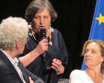 """Dominique Serena, entre Bernard Foccroulle (Festival d'AIx) et Irina Brook (Théâtre National de Nice) : """"faisons vivre le patrimoine!"""" (photo MN)"""
