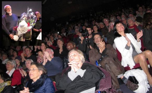 La première de son spectacle chanté-filmé-joué, Balat, à Forcalquier, fut un succès (ici avec le poète JY Royer), il sera donné en juin prochain aux Joutes Musicales de Correns (photo MN)