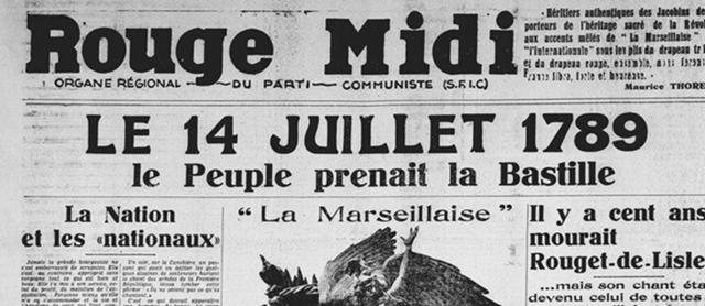La Marseillaise, organe du Front National de la Résistance, devient quotidien du PCF en 1947, à la disparition de l'organe de celui-ci, Rouge Midi. Ici, numéro de juillet 1936.