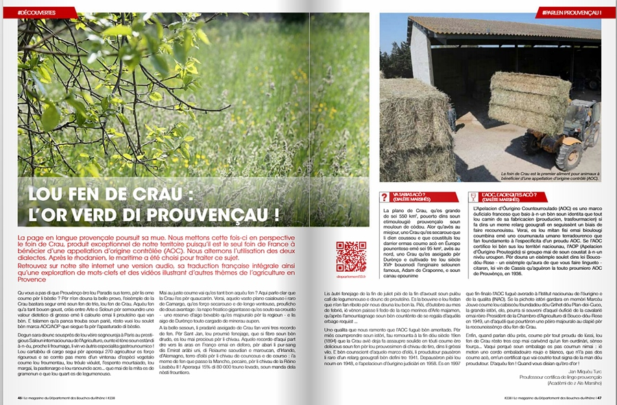 La chronique en provençal telle que dans le dernier numéro de la revue institutionnelle des Bouches-du-Rhône (XDR)