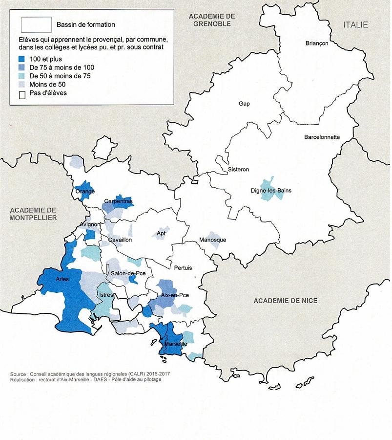 Source : Rectorat Aix-Marseille. A noter le désert alpin de l'enseignement de l'occitan, où pourtant la langue est la plus vive encore