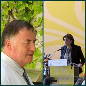 Loic Fauchon, pdt de la SEM e Martine Vassal, pdta dau CD13, implicats dins lo mercat contestat dau servici d'aigas dau relarg marselhès (photo MN)