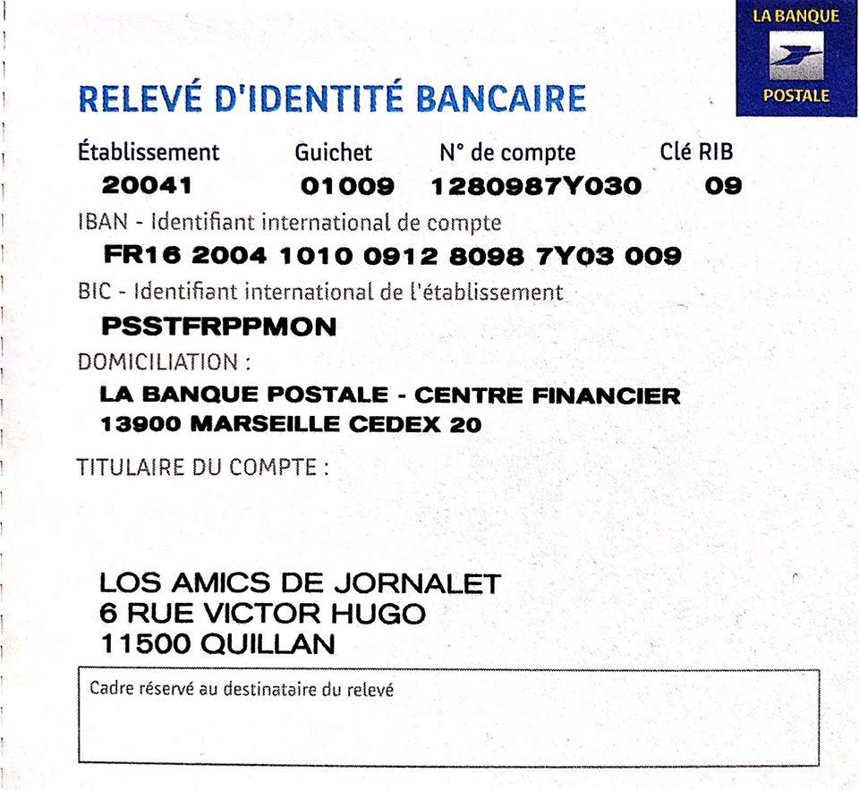 Pour envoyer un chèque de don aux Amis de Jornalet