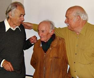 Sèrgi Bec, Max Fayet, Pèire Pessemesse, co-auteurs de Li Graio Negre (1954). Dans peu de temps, Pèire Pessemesse passera à la graphie classique et souhaitera secouer le Félbrige (photo XDR)