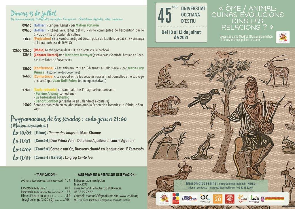 L'uman e la bèstia de cotria per l'Universitat Occitana d'Estiu