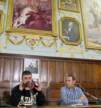 Ferriol Macip et Manel Zabala à Aix-en-Provence. Ils font vivre le journal occitan Lo Jornalet, à partir de Barcelona (photo MN)