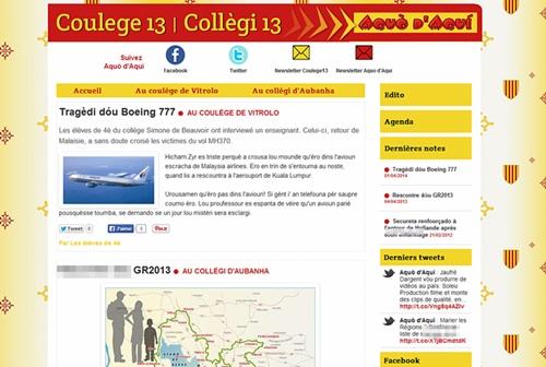 Un blog lié au site d'Aquò d'Aquí pour publier en provençal dès le collège (photo MN)