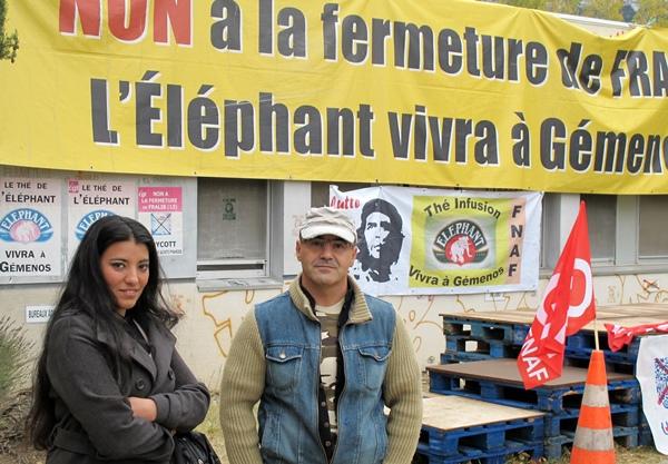 Le personnel de Fralib occupe le site depuis 1340 jours et réclame au groupe Unilever la vente du site au public et le droit d'exploiter la marque plus que centenaire Le Thé de l'Eléphant (photo MN)