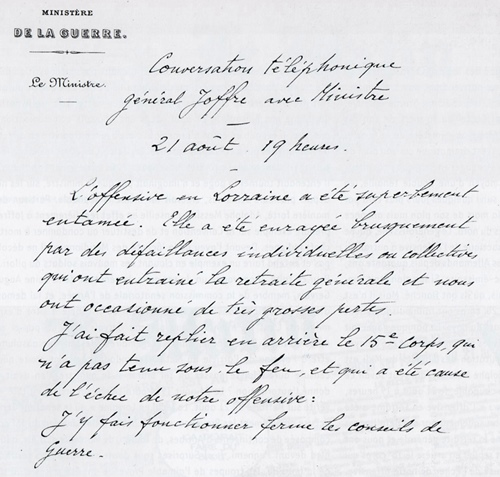 Compte rendu de la conversation du ministre de la Guerre Messiny, qui va entraîner les procès d'Odde et Tomasini (photo XDR)