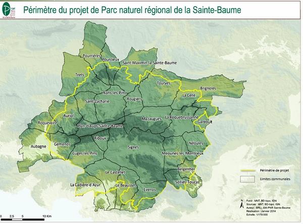 29 communes du Var et des Bouches-du-Rhône, qui confirmeront, ou pas, en 2016, leur adhésions au PNR de la Sainte-Baume (doc XDR)