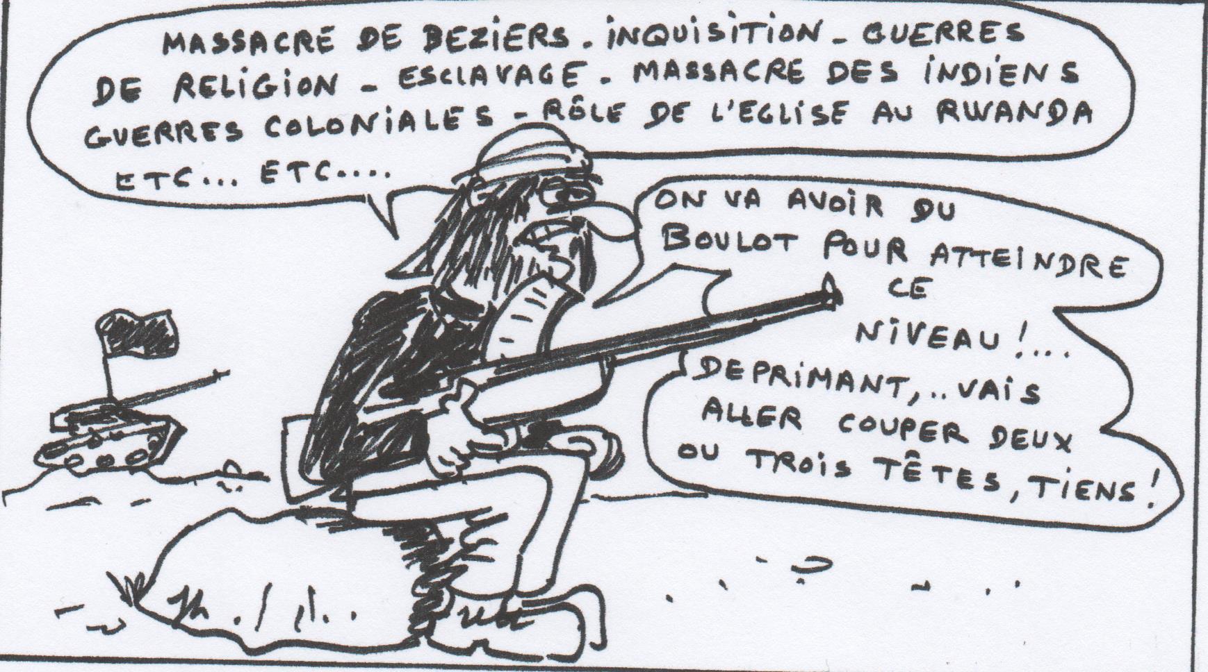 """Arnaud Amaury, legat dau Papa davant Besiers en 1214 : """"tuatz lei totei, Dieu chausirà lei sieus"""" JLR DR"""