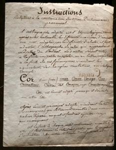 """Ici, un extrait manuscrit du dictionnaire de Simon Jude Honorat (""""Instructions relatives à la construction de mon dictionnaire provençal"""")"""