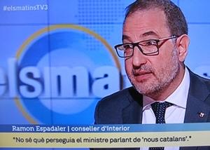 Ramon Espadaler sur TV3CAT hier 9 avril (photo XDR)
