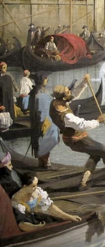 Le Bucentaure de retour au môle (1731-32). Dans ces mémoires, Casanova qualifie de grotesque cette cérémonie de l'Ascension, symbolisant l'osmose des Doges avec la mer nourricière. Canaletto choisit de représenter le peuple de Venise, qu'il met au premier plan, reléguant la cérémonie officielle au rang de décor (Durham, UK, The Bowes Museum)