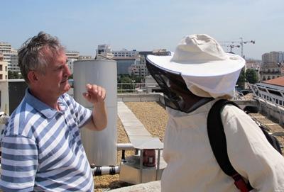 """Sur le toit de l'Hôtel de Région, Henri Clément visite les ruches """"urbaines"""" (photo MN)"""