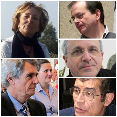Parmi les nombreux écrivains d'aujourd'hui de cette anthologie, de h en b et de g a d : Lisa Gròs, Bernat Giely, Patrici Gauthier, Reinat Toscano et Rotland Pecout (photos MN et XDR)